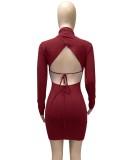 Vestido ajustado de manga larga con lazo sin espalda rojo sexy de otoño