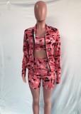 Sujetador corto de camuflaje rosa casual de otoño + Pantalones cortos ajustados de cintura alta + Abrigo con cremallera Conjunto de ropa deportiva de 3 piezas