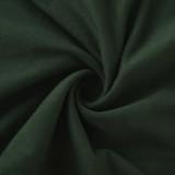Conjunto de minivestido y top corto de manga larga con lazo verde sexy de otoño