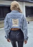 Chaqueta de jeans cortos con bolsillo de moda azul de otoño