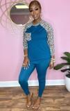 Conjunto de pantalón y top de manga raglán con estampado de leopardo azul casual de otoño