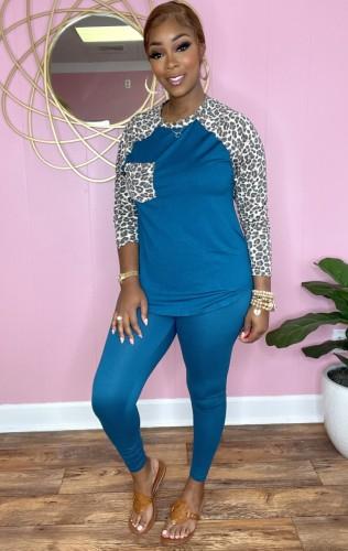 Autunno casual blu con set di pantaloni e top con maniche raglan con stampa leopardata