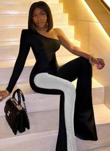 Fall Elegant Black Beaded Patchwork One Shoulder Long Sleeve Jumpsuit