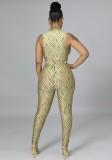 Herbst Sexy Khaki Stripes Print Plunge Neck Sleeveless Slim Jumpsuit
