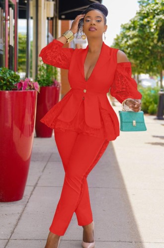Fall Elegant Red Ruffles Lace Cut Out Shoulder Long Sleeve Blazer And Pant Set
