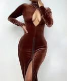 Otoño sexy terciopelo marrón ojo de cerradura manga larga cremallera dividida vestido largo