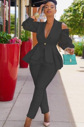 Fall Elegant Black Ruffles Lace Cut Out Shoulder Long Sleeve Blazer And Pant Set
