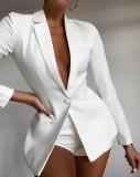 Herbst Trendy White Long Lseeve Blazer und passende Shorts Zweiteiler