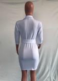 Otoño elegante blanco cruzado cuello largo Lseeve Irregualr blazer vestido con cinturón