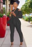 Conjunto de pantalón y chaqueta de manga larga con hombros descubiertos y volantes negros elegantes de otoño