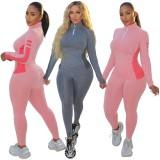 Fall Pink Zipper Neck Contast Top de manga larga y pantalón de chándal