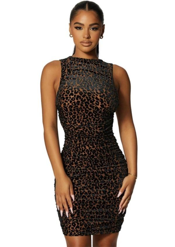 Herbst Sexy Leoparden Rückenausschnitt Ärmelloses, figurbetontes Kleid