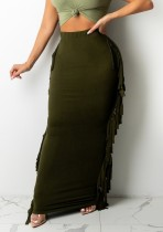 Herbstgrünes elegantes Quasten-langes Kleid