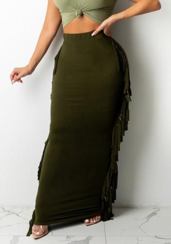 Vestido largo verde con borlas elegantes de otoño