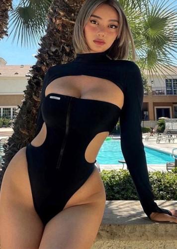 Otoño sexy negro con cremallera sin tirantes body recortado y conjunto de capa de manga larga