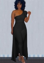 Fall Sexy Black Ruffled One Shoulder Slim Jumpsuit With Hem