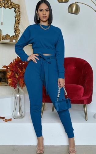 Set di due pezzi con top e pantaloni blu casual autunnali a maniche lunghe