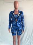 Sujetador corto de camuflaje azul casual de otoño + Pantalones cortos ajustados de cintura alta + Abrigo con cremallera Conjunto de ropa deportiva de 3 piezas