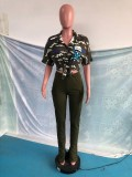 Conjunto de blusa anudada de manga corta con estampado informal de otoño y pantalón de bolsillo dividido de cintura alta