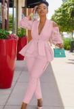 Conjunto de pantalón y chaqueta de manga larga con hombros descubiertos de encaje con volantes rosados elegantes de otoño