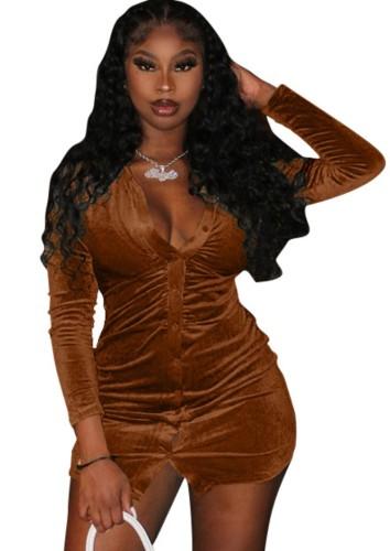 秋のセクシーな茶色のボタンオープン長袖ドレス