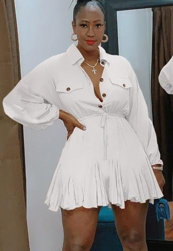 秋カジュアルホワイトボタンアップターンダウンカラー長袖巾着スケータードレス