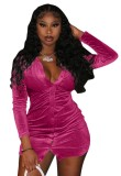Vestido de manga larga abierto con botón rosa sexy de otoño