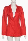 Fall Trendy Red Long Lseeve Blazer y pantalones cortos a juego Trajes de dos piezas