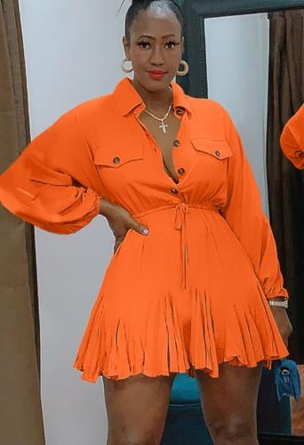 秋のカジュアルオレンジボタンアップターンダウンカラー長袖巾着スケータードレス