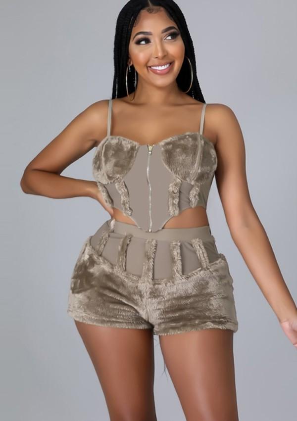 Summer Sexy Caqui Cremallera Correas Crop Top Y Pantalones Cortos A Juego De Cintura Alta Conjunto De Dos Piezas
