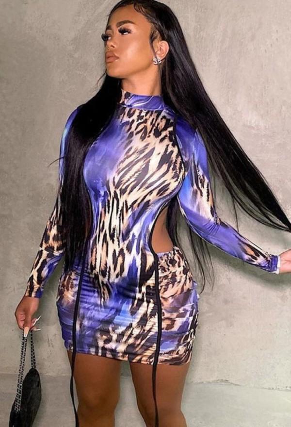 Vestido ajustado de manga larga con estampado de leopardo sexy de otoño