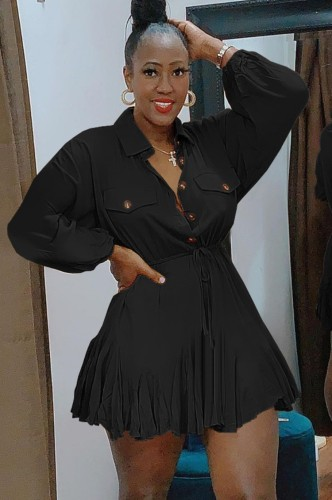秋カジュアルブラックボタンアップターンダウンカラー長袖巾着スケータードレス
