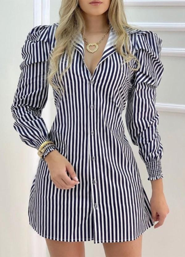 Vestido mini blusa con mangas abullonadas y rayas casuales de otoño