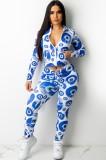 Conjunto de pantalón y top corto de manga larga con cremallera y estampado azul de otoño a la moda