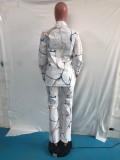 Conjunto de blusa suelta de manga larga de cuello alto blanco con estampado causal de otoño y conjunto de pantalones a juego