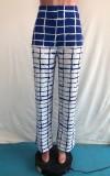 Pantalones sueltos de cintura alta a cuadros azules sexy de otoño