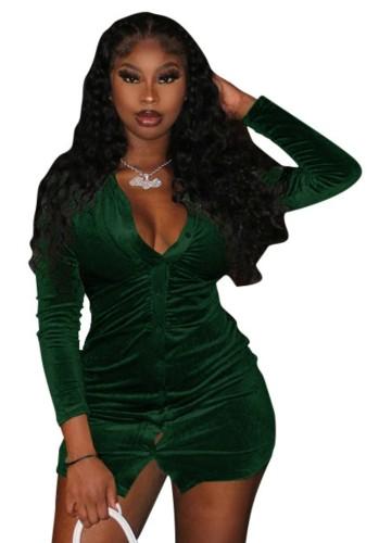 秋のセクシーな緑のボタンオープン長袖ドレス