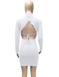 Vestido ajustado de manga larga con lazo sin espalda blanco sexy de otoño