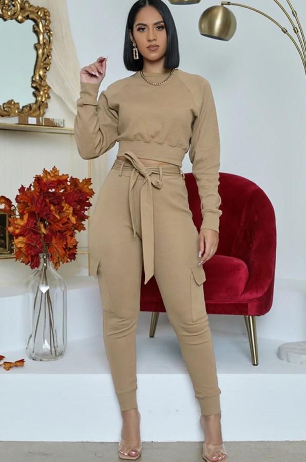 Conjunto de dos piezas de pantalón y top de manga larga casual de otoño Kahaki