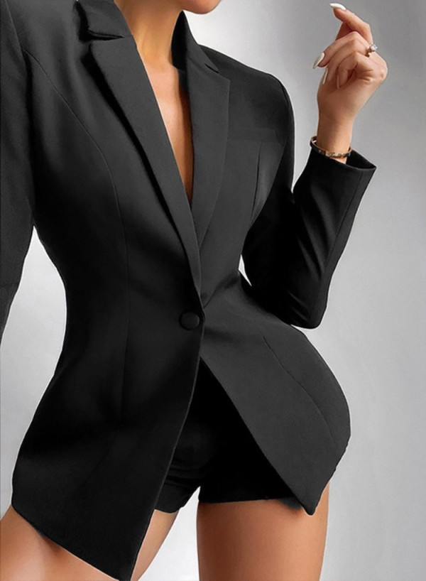 Fall Trendy Black Long Lseeve Blazer y pantalones cortos a juego Trajes de dos piezas