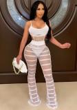 Sommer Sexy Weiß Aushöhlen Träger Body Und Hohe Taille Hosen Zweiteiliges Set