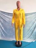 Otoño elegante mono amarillo abotonado manga abullonada cuello vuelto suelto con cinturón