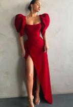 Otoño elegante cuello cuadrado rojo manga abullonada vestido de noche de división alta