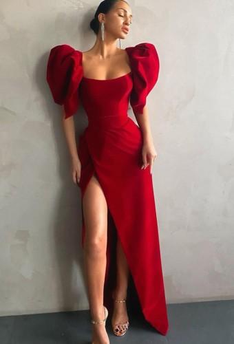 秋のエレガントな赤いスクエアネックパフスリーブハイスプリットイブニングドレス