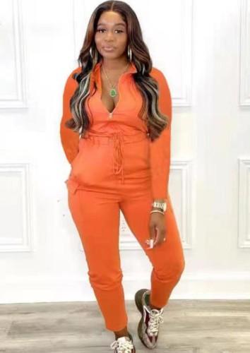 秋のカジュアルオレンジジッパー巾着長袖ジャンプスーツ