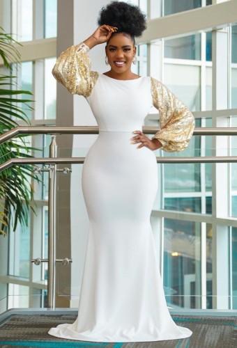 秋のエレガントなゴールドスパンコールパフスリーブホワイトマーメイドイブニングドレス