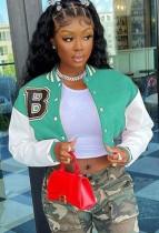 Autumn Mint Green Color Block Button Up Baseball Jacket