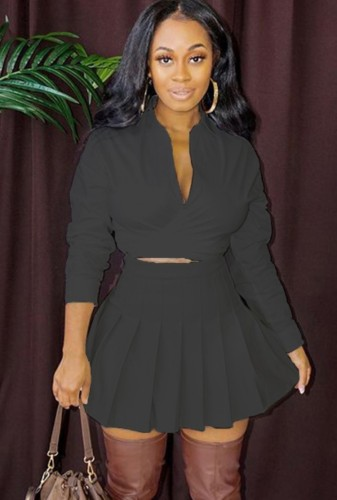 Fall Sexy Black Turndown Collar Long Sleeve Crop Blouse and Pleated Skirt Set