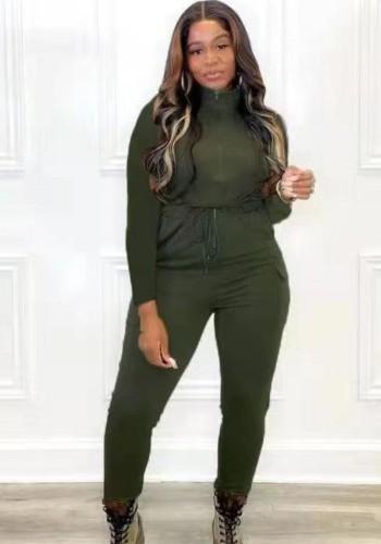 秋のカジュアルグリーンジッパー巾着長袖ジャンプスーツ