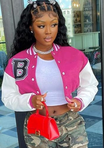 Herfstroze roze kleurblok baseballjack met knopen